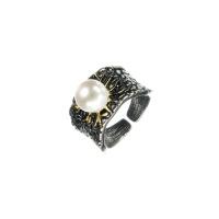 Anello con Perla Tonda su Argento 925 Nero decorato