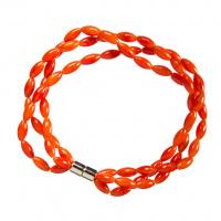 Bracciale a tre fili in Corallo bambù arancio