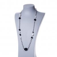 Collana lunga in Agata Nera, Perle e Argento 925