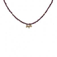Collana Dog in Granato e Argento 925 Dorato