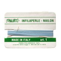 Filo Infilaperle in Nylon con ago - Celeste - Diametro da 0.4 a 0.9 mm