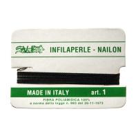 Filo Infilaperle in Nylon con ago - Nero - Diametro da 0.4 a 0.9 mm