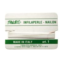 Filo Infilaperle in Nylon con ago - Bianco - Diametro da 0.4 a 0.9 mm