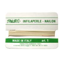 Filo Infilaperle in Nylon con ago - Ecrù - Diametro da 0.4 a 0.9 mm