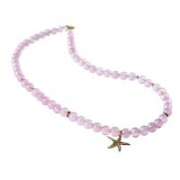 Collana Stella Marina in Quarzo Rosa e Argento 925 Dorato