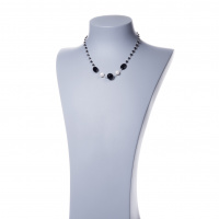 Collana corta in Agata Nera, Perle e Argento 925