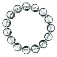Bracciale Cristallo di Rocca, elastico, sfaccettato, sfere 12mm