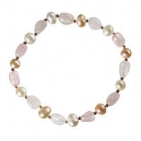 Bracciale elastico di Quarzo Rosa e Perle