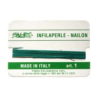Filo Infilaperle in Nylon con ago - Smeraldo - Diametro da 0.4 a 0.9 mm