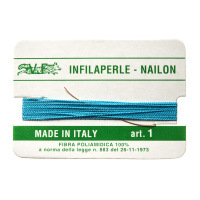 Filo Infilaperle in Nylon con ago - Turchese - Diametro da 0.4 a 0.9 mm