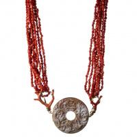 Collana in Corallo Rosso, Giada antica e Argento 925