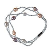Bracciale in Perle Potato Rosa, Bianche e Ottone