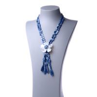 Collana Lunga di Cianite con fiore di Madreperla e Ag 925