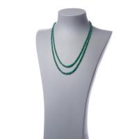 Collana Corta a due fili di rondelle di Smeraldo ed Argento 800