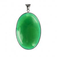 Ciondolo Ovale in Agata Verde e Ottone
