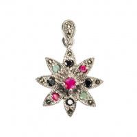 Ciondolo Fiore di Rubino, Smeraldo, Zaffiri Neri e Argento 925