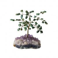 Albero in Agata Verde su Drusa di Quarzo Fumè