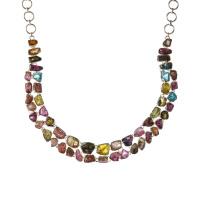 Collana di Tormalina Grezza Multicolore e Argento 925