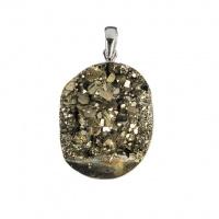 Ciondolo ovale di Pirite grezza e Argento 925