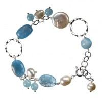 Bracciale di Acquamarina, Perle e Argento 925