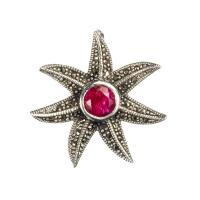 Ciondolo di Rubino Stella Marina e Argento 925