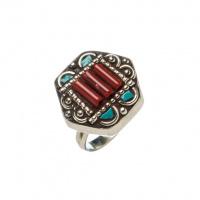 Anello Etnico esagonale di Turchese, Corallo Rosso e Argento Tibetano