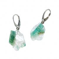 Orecchini di Smeraldo grezzo Qualità Extra e Argento 925