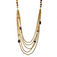 Collana 5 fili e Sfere sfaccettate di Agata Striata lunghezza 100 cm.