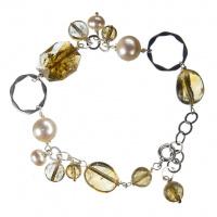 Bracciale di Quarzo Citrino, Perle e Argento 925