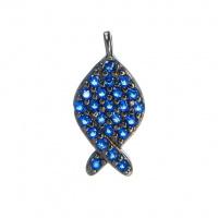 Ciondolo Pesce Argento 925 Nero con Zirconi Blu