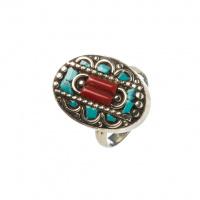Anello Etnico ovale di Turchese, Corallo Rosso e Argento Tibetano