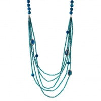 Collana 5 fili e Sfere sfaccettate di Agata Blu lunghezza 100 cm.