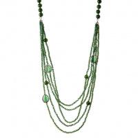 Collana 5 fili e Sfere sfaccettate di Agata Verde lunghezza 100 cm.
