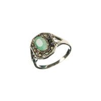 Anello Smeraldo ovale, Marcasiti e Argento 925