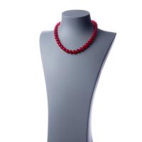 Collana corta Giada Rossa e Ag 925, sfere 10mm