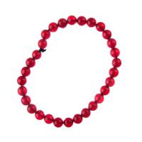 Bracciale Giada Rossa, elastico, sfere 6mm