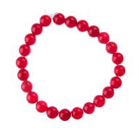 Bracciale Giada Rossa, elastico, sfere 8mm