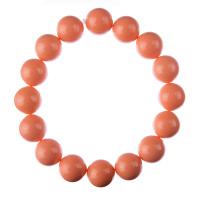 Bracciale Corallo Bambù Rosa, elastico, sfere 12mm
