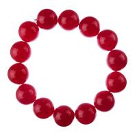 Bracciale Giada Rossa, elastico, sfere 14mm