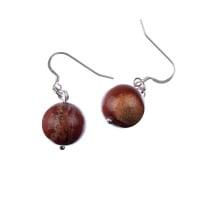 Orecchini a sfere di Diaspro Rosso 14mm e Argento 925