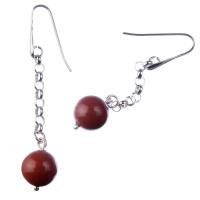 Orecchini pendenti a sfere di Diaspro Rosso 12mm e Argento 925 Rodiato