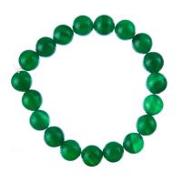 Bracciale Agata Verde, elastico, sfere 10mm