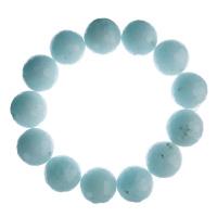 Bracciale Amazzonite, elastico, sfaccettato, sfere 14mm