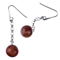 Orecchini pendenti a sfere di Diaspro Rosso 14mm e Argento 925 Rodiato