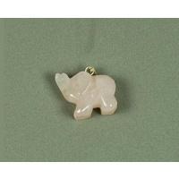 Ciondolo Unisex in Quarzo Rosa - Elefante