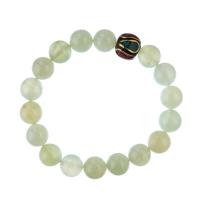Bracciale New Jade con elemento tibetano, elastico, sfere 10mm