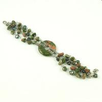 Bracciale Phi di Unakite, Perle d'Acqua Dolce e Ag 925