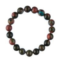 Bracciale Unakite con elemento tibetano, elastico, sfere 10mm